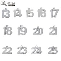 my shape 13- 25 Lucky Number Birthday Charms 40pcs DIY Dangli...