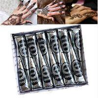 골라 12pcs 천연 검은 멘디 헤너 콘 인도 문신 붙여 넣기 임시 문신 스티커 Mehndi 바디 페인트