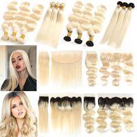 Ombre 1b 613 блондинка утки перуанский девственные волосы 613 блондинка прямая волна тела человеческих волос ткать 3 пучки с закрытием кружева фронтальная