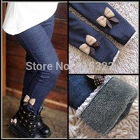 Inside Plush Autumn Winter Warm Girls Jeans Bow Pants Kids C...