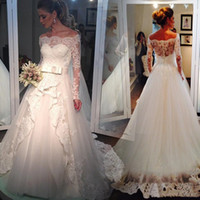 2019 Generous Lace Wedding Dresses White Bateau Neck Sleevel...