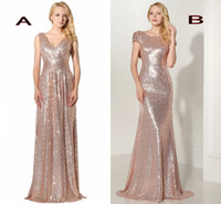 Sparkly Rose Gold 2019 Mermaid Abiti da damigella maniche corte Backless Long Beach Paillettes Champagne Abiti da festa di nozze HY242