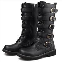 새로운 도착 디자이너 남자 긴 부팅 블랙 라운드 발가락 레이스 버클 스트랩 해골의 매력 PU 가죽 오토바이 부츠 남성 겨울 신발 크기 37-45