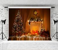 Noel Şömine Fotoğrafçılık Arkaplan Glitter Yılbaşı Ağacı Backdrop Odası Işık Dekor Fotoğraf Vur Arka planında Studio Prop 7x5ft Rüya
