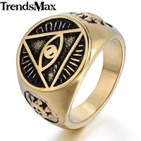 Trendsmax Illuminati pyramid eye symbol Gold- color 316L Stai...