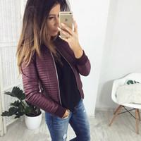 스타일 플리츠 지퍼 코트 자켓 여성용 긴팔 코트 아웃웨어 잘 생긴 주머니 가을 봄 소형 슬림 SJ774U