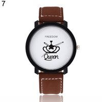 Newest Couple Queen King Crown Fuax Leather Quartz Analog Wr...