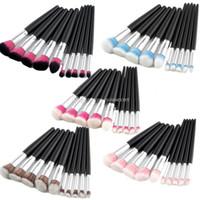 10 Pcs Maquiagem Jogo De Pincel Punho Preta Kabuki Fundação Mistura Compõem Escovas Sobrancelha Delineador Em Pó Maquiagem Kit Escova DHL Livre