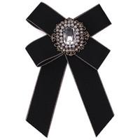 Parti di moda abito camicia bow pin spille per le donne cravatta fatta a mano Corsage Broach tela tessuto cristallo colletto bowknot spilla gioielli