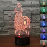 Alpaca 3D Acrylic LED Night Light Touch 7 Color Change Desk ...