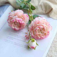 61 cm Künstliche Blume Rose Silk Mariage Geburtstagsfeier Western Rose Hochzeit Blumen Ranunculus Asiaticus Zweig Wohnkultur