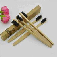 Spazzolino da denti Salute personale Spazzolino di bambù ambientale Denti per la cura orale Medio Spazzole morbide eco-compatibili Denti in legno di nylon Sbiancanti