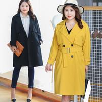 PL019 جديد ربيع الخريف خندق معطف للنساء عارضة المرأة خندق معطف زائد الحجم ملابس خارجية فضفاضة السيدات مع حزام
