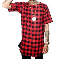Мужские плед скользкие повседневные боковые молния футболка с коротким рукавом хип-хоп мужская уличная одежда футболка для футболки мотова
