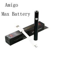 Amigo Max Batterie Vape Stift Vorheizbatterien 380mAh Einstellbare Spannung 510 Gewindepasspatronen-Zerstäuber mit USB-Kabel E-Zigarette-Verpackungsbox