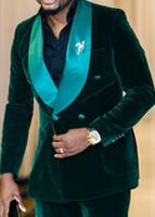 새로운 도착 더블 브레스트 짙은 녹색 벨벳 신랑 턱시도 어깨 걸이 옷깃 신랑 맨 남자 블레 이저 망 결혼식 정장 (자켓 + 바지 + 타이) D : 72