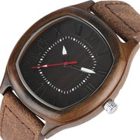 Unique Leather Handmade Watch Men Bamboo Wood Watch Fashion Quadrangle Design VintageWristwatches Clock Hours Analog Gifts