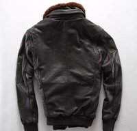 블랙 AVIREXFLY 오토바이 가죽 자켓 양고기 모피 칼라 옷깃 목 가죽 G1 공군 비행 재킷