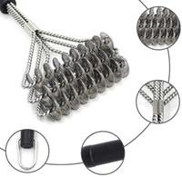 스테인레스 스틸 바베큐 그릴 클리너 브러쉬 손잡이가있는 3 개의 와이어 스프링 내구성있는 스틱 청소 브러시 바베큐 도구 SN664