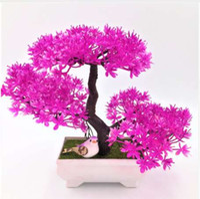 1 قطعة الترحيب الصنوبر محاكاة بونساي محاكاة الزهور الاصطناعية وعاء النباتات الخضراء وهمية الحلي ديكور المنزل