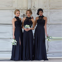 Vintage Halter Lace Long Bridesmaid Dresses Chiffon Split Fl...