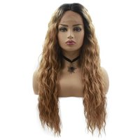 "28"" Lace Front Wig Long Natural Curly Synthetic Wigs Co..."