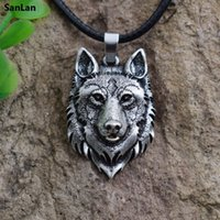 SanLan 1pcs Wolf Head Necklace Pendant Animal Power Norse Vi...