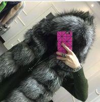 New 2017 Plus Size Winter warme Jacke Silber Pelzweste mit Kapuze Weste Streifen mittel langer Faux-Pelz-Winter-Jacke