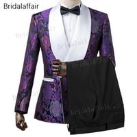 Gwenhwyfar Custom Made Damat Smokin Slim Fit Mor Çiçek Baskılı Erkekler Düğün Suit Erkek Takım Elbise Set 2 Adet (ceket + Siyah Pantolon)