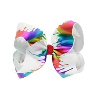 8' Paint Drips Jojo Hair Bows Large Grosgrain Mermaid B...