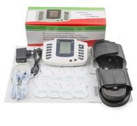 새로운 러시아 버튼 전기 근육 자극기 바디 릴렉스 근육 마사지 기계 맥박 수십 침구 치료 슬리퍼 + 8 패드 + 상자