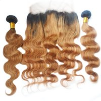 T1b 30 Ombre indiani capelli umani Bundles con 360 Frontal Del Merletto Two Tone Body Wave Capelli Vergini Tesse E 360 Chiusura 3 pz Lotto