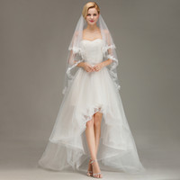 Best Selling Real Photos Short Wedding Veils Two Layers Bridal Veils with Appliques Cheap Bridal Veil CPA1438