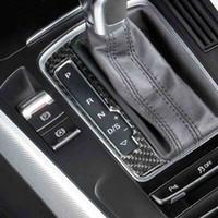 Karbon Fiber Konsol Araba Vites Paneli Çerçeve Çıkartmalar Vites Topuzu Kapak Süslemeleri Aksesuarları Audi A4 B8 A5 Q5 Için Araba Styling