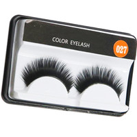 Marca de fábrica Pestañas Falsas Hechas A Mano Natural Largo Suave Falso Ojo Las extensiones del pestillo Flair Color Negro Pestañas Maquillaje Terrier Lashes # 027