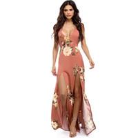Frauen-reizvolle lange Blumenkleider-Sommer-Isolationsschlauchbügel-tiefer V-Ansatz spaltet rückenfreies Entwurfs-böhmisches Strand-Kleid auf