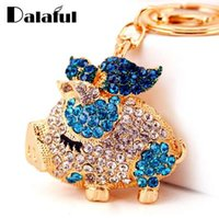 Dalaful New Pig Crystal Rhinestone Keyrings Key Chains Holde...