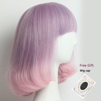 Ombre Color Short Purple to Pink Synthetic Wigs For Black Wh...