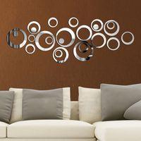 24pcs / set DIY 3D circunda la etiqueta de la pared de la decoración del espejo pegatinas de pared para TV de fondo Decoración de acrílico Decoración pared del arte