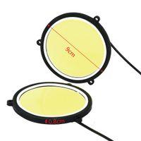 9см 1-контактный / лот дневного ходового света Гибкая круглая форма DOLL автомобильные огни автомобиля вождения лампы COB светодиодные светильники автомобиля укладка универсальный