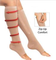 Neupreis 1000pair / lot Zip Sox Zip-Up Reißverschluss-Kompressions-Knie-Socken unterstützt Strümpfe Bein offene Zehe Hot Shaper Schwarz und Beige
