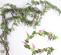 Soie Wisteria fleur de vigne artificielle Wisteria fleur rotins avec des feuilles vertes pour la photographie de mariage de Noël décoratifs pour la maison Fleurs