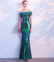 Bling Sequins Evening Dresses In Stock 2018 Long Prom Crows Elegant Party Dresses Green Gold