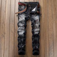 Moda Erkek Blenched Siyah Kot Tasarımcı Kravat Boya Çizik Düz Bacak Denim Pantolon Slim fit Biker Hip Hop Trousres JB9890