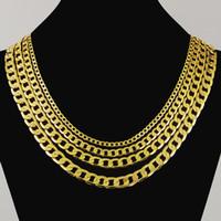 Estilo de moda Venta caliente 24k fina cadena de oro con eslabones 20/22/24/26/28 pulgadas de 4 mm para las mujeres / Hombre compromiso de la boda CHJP170
