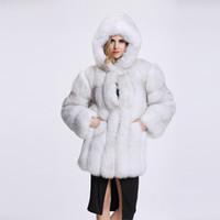2020 a buon mercato lungo cappotto di pelliccia con cappuccio maniche inverno modo delle donne Faux Fur Coats Fox Furry donna falso rivestimento della pelliccia del cappotto Plus Size MM9786