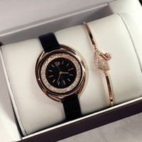 2018 New Luxury rose gold women leather watch Fashion lady d...