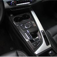 Karbon Elyaf Araç Kontrol Vites Kutusu Paneli Su Kupası Tutucu Çerçeve Kapak Trim Aksesuarlar için Audi A4 A5 S5 2017 2020 Araç-Stling b9