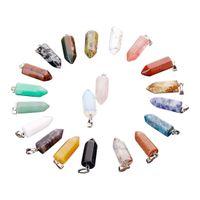 Livraison gratuite pierres précieuses naturelles hexagone prisme balle pendentif charmes de guérison quartz agate bijoux de mode collier pendentifs en gros