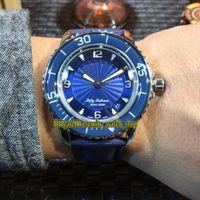 MM fábrica nuevo CINCUENTA brazas 5015D-1140-52B azul Ginebra Dial de cuero Japón Miyota automático del reloj para hombre plateado caja de la fibra de nylon Relojes de la correa
